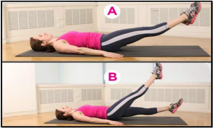 Стандартный ЛФК включает «Ножницы» ногами в положении лежа на спине (руки вдоль туловища)