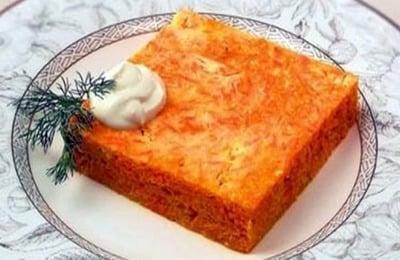 На второй завтрак пятого дня рекомендуется творожная запеканка с морковью