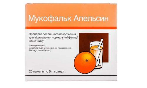 «Мукофальк». Является легким слабительным средством. Хорошо размягчает кал и улучшает перистальтику, оказывает благотворное воздействие на микрофлору слизистой оболочки кишечника