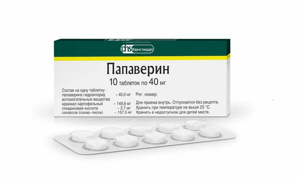 Препарат Папаверин устраняет спазмы протоков железы и болей