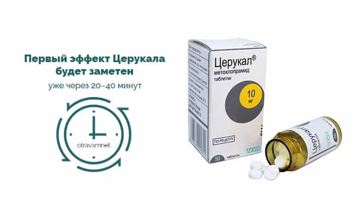 Активный компонент Церукала при употреблении внутрь подвергается быстрой абсорбции из пищеварительного тракта и начинает действовать через 30 минут после приема таблетки