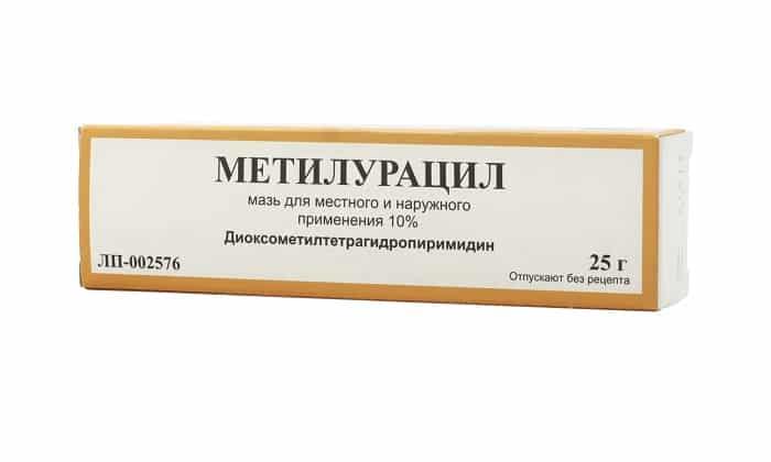 Мазь является менее концентрированным средством и содержит всего 10% метилурацила
