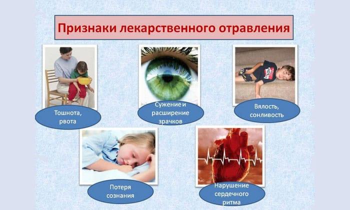 В случае превышения дозы данного препарата возникают следующие симптомы: тошнота, рвота, низкое кровяное давление и т.п