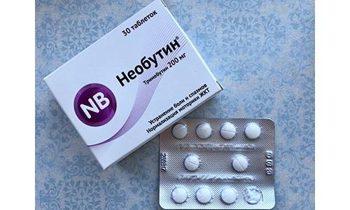 Необутин выпускается в белых таблетках по 100 мг или 200 мг основного действующего вещества (малеата тримебутина)