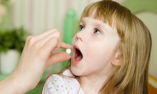 Детям от 5 до 12 лет назначаются дозы препарата по 50 мг трижды в день