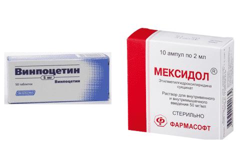 Винпоцетин и Мексидол применяют при заболеваниях, провоцирующих нарушение мозгового кровообращения