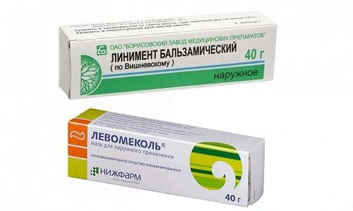 Левомеколь и мазь Вишневского применяются для лечения поверхностных ран и нарывов