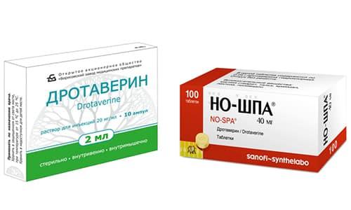 Чтобы расширить сосуды и устранить спазмы гладкой мускулатуры органов, врачи нередко назначают такие препараты, как Дротаверин или Но-шпа